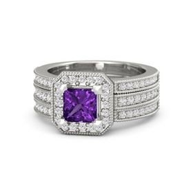 Princess Amethyst 14K White Gold Ring with White Sapphire