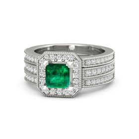 Princess Emerald 14K White Gold Ring with White Sapphire