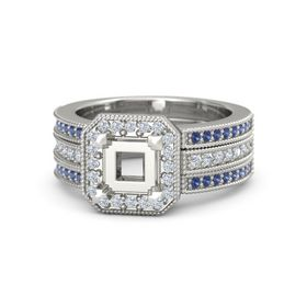 Princess Sapphire 14K White Gold Ring with Diamond & Sapphire