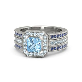 Princess Blue Topaz 14K White Gold Ring with Aquamarine & Sapphire