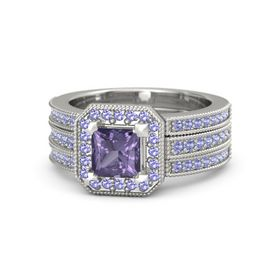 Princess Iolite 14K White Gold Ring with Iolite