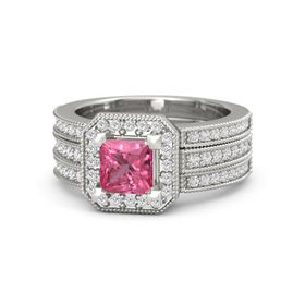 Princess Pink Tourmaline 14K White Gold Ring with White Sapphire