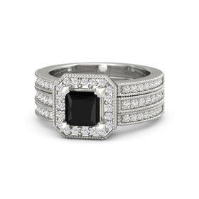 Princess Black Onyx 14K White Gold Ring with White Sapphire