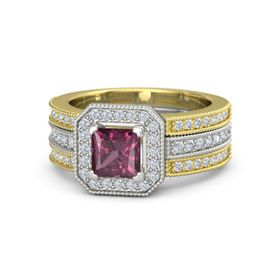 Princess Rhodolite Garnet 14K White Gold Ring with Diamond