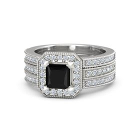 Princess Black Onyx 14K White Gold Ring with Diamond