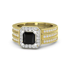 Princess Black Onyx 14K Yellow Gold Ring with White Sapphire