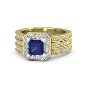 Princess Sapphire 14K Yellow Gold Ring with Diamond