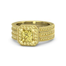 Princess Yellow Sapphire 14K Yellow Gold Ring with Yellow Sapphire