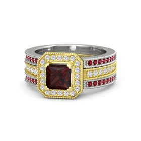 Princess Red Garnet 14K Yellow Gold Ring with White Sapphire and Ruby