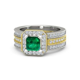 Princess Emerald 14K Yellow Gold Ring with Diamond