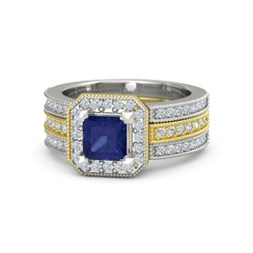 Princess Blue Sapphire 14K Yellow Gold Ring with Diamond