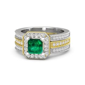 Princess Emerald 14K Yellow Gold Ring with White Sapphire
