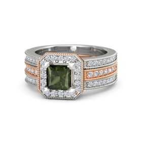Princess Green Tourmaline 18K Rose Gold Ring with Diamond