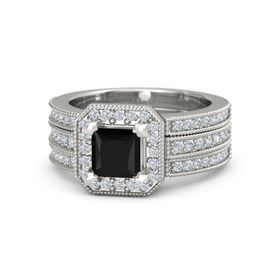 Princess Black Onyx 18K White Gold Ring with Diamond