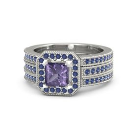 Princess Iolite 18K White Gold Ring with Sapphire