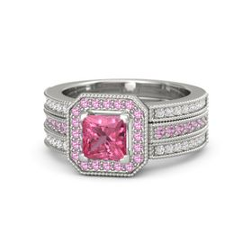 Princess Pink Tourmaline 18K White Gold Ring with Pink Tourmaline and White Sapphire