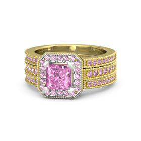 Princess Pink Sapphire 18K Yellow Gold Ring with Pink Sapphire and Pink Tourmaline