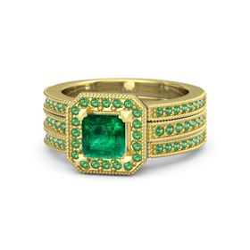 Princess Emerald 18K Yellow Gold Ring with Emerald