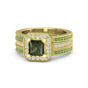 Princess Green Tourmaline 18K Yellow Gold Ring with White Sapphire & Emerald