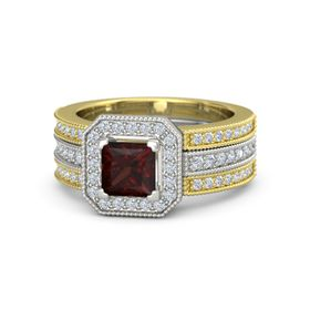 Princess Red Garnet Platinum Ring with Diamond