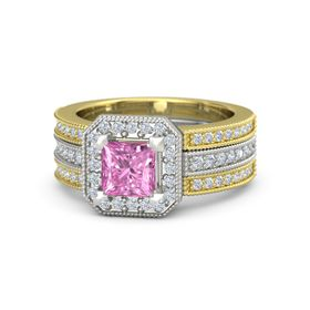 Princess Pink Sapphire Platinum Ring with Diamond