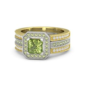 Princess Peridot Platinum Ring with Peridot and White Sapphire