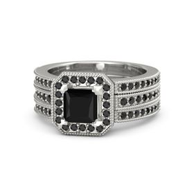 Princess Black Onyx Platinum Ring with Black Diamond