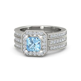 Princess Blue Topaz Platinum Ring with Diamond