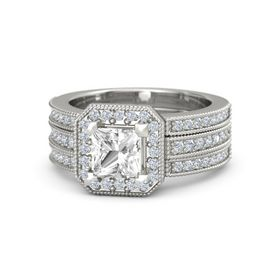 Princess Rock Crystal Platinum Ring with Diamond