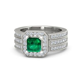 Princess Emerald Platinum Ring with Diamond