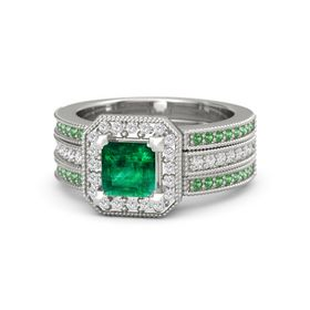 Princess Emerald Platinum Ring with White Sapphire and Emerald