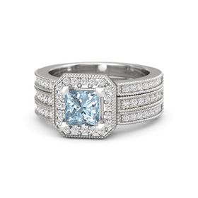 Princess Aquamarine Platinum Ring with White Sapphire