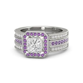 Princess White Sapphire Sterling Silver Ring with Amethyst & White Sapphire