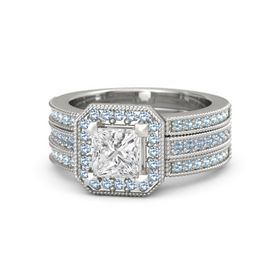 Princess White Sapphire Sterling Silver Ring with Blue Topaz & Aquamarine