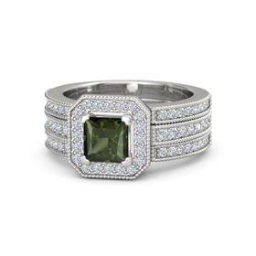Princess Green Tourmaline Sterling Silver Ring with Diamond