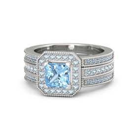 Princess Blue Topaz Sterling Silver Ring with Aquamarine and Blue Topaz