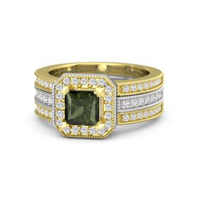 Princess Green Tourmaline Sterling Silver Ring with White Sapphire
