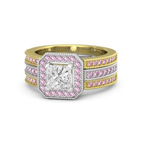 Princess White Sapphire Sterling Silver Ring with Pink Sapphire