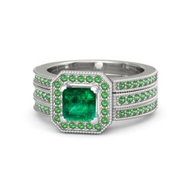 Princess Emerald Sterling Silver Ring with Emerald