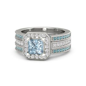 Princess Aquamarine Sterling Silver Ring with White Sapphire and London Blue Topaz