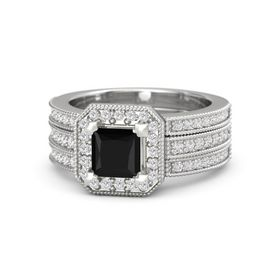 Princess Black Onyx Sterling Silver Ring with White Sapphire