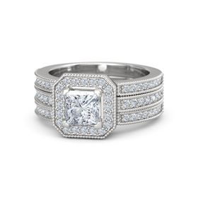 Princess Diamond Sterling Silver Ring with Diamond