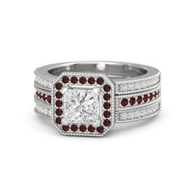 Princess White Sapphire Sterling Silver Ring with Red Garnet and White Sapphire