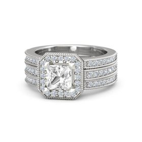 Princess Rock Crystal Sterling Silver Ring with Diamond