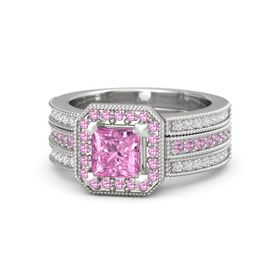 Princess Pink Sapphire Sterling Silver Ring with Pink Tourmaline and White Sapphire