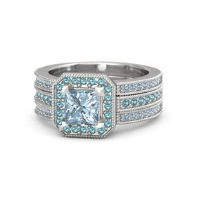 Princess Aquamarine Sterling Silver Ring with London Blue Topaz and Blue Topaz