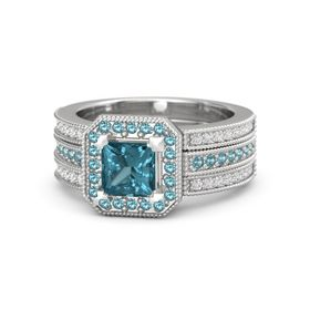 Princess London Blue Topaz Sterling Silver Ring with London Blue Topaz and White Sapphire