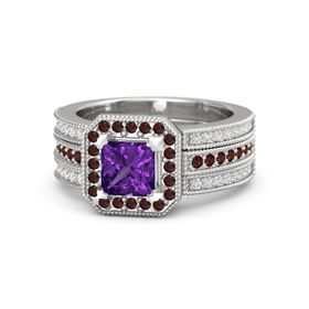Princess Amethyst Sterling Silver Ring with Red Garnet & White Sapphire