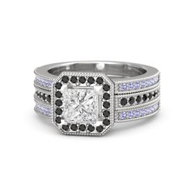 Princess White Sapphire Sterling Silver Ring with Black Diamond and Tanzanite