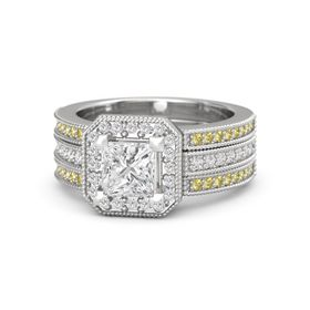 Princess White Sapphire Sterling Silver Ring with White Sapphire and Yellow Sapphire